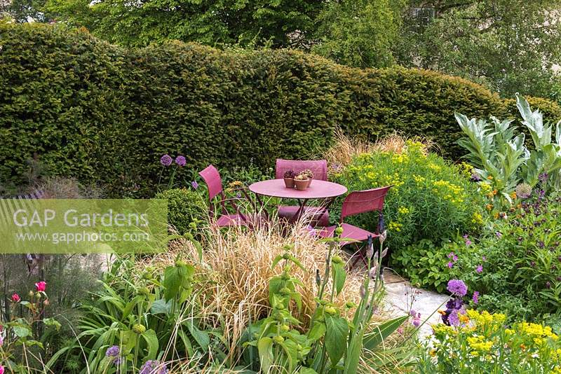 Seating area sheltered by yew hedge, and surrounded by beds of euphorbia, cardoon, centaurea, fennel, phlomis, allium and grasses.