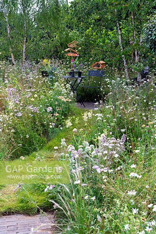Grass path cutting through wild flower meadow leading to seating area with metal chairs and table. RHS Hampton Court Festival 2019.