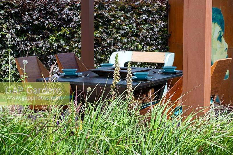 Dining furniture by Quan - The Lower Barn Farm Garden, RHS Hampton Court Palace Garden Festival 2019