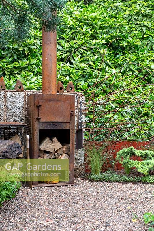 Reclaimed outdoor wood oven - The Walker's Forgotten Quarry Garden, RHS Chelsea Flower Show 2019