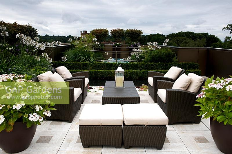 Contemporary urban roof garden with seating area and table, surrounded by containers of Agapanthus and Hydrangea