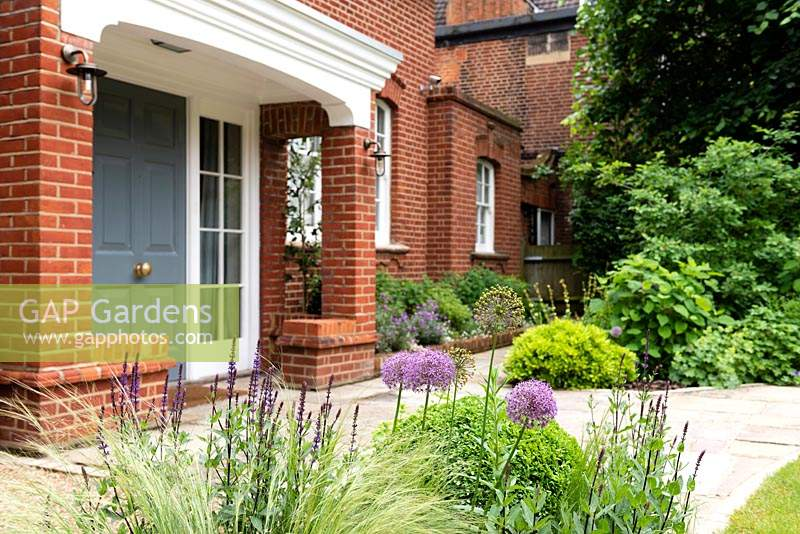 Grey entrance door with border planted with Stipa tenuissima, Allium and Buxus - Box