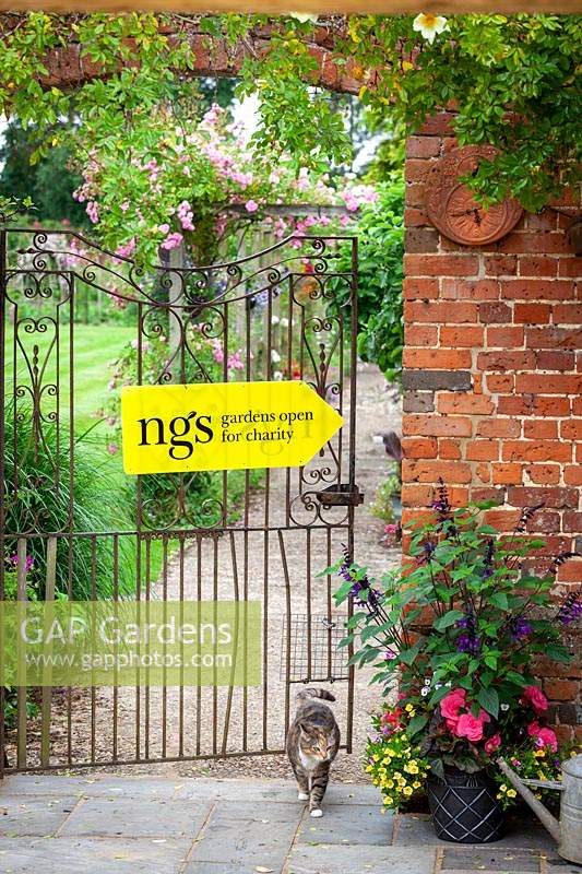 National Gardens Scheme garden open for charity sign on gate - with cat
