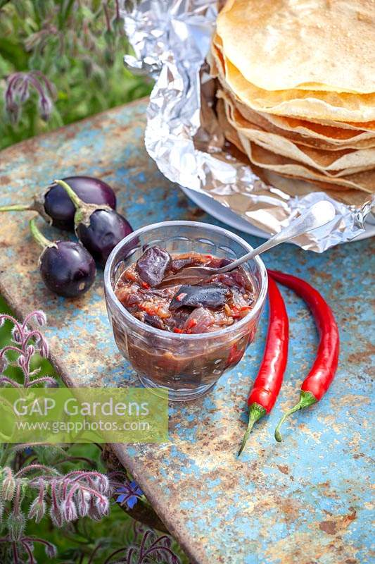 Homemade spicy Aubergine and Mustard pickle, served in jar