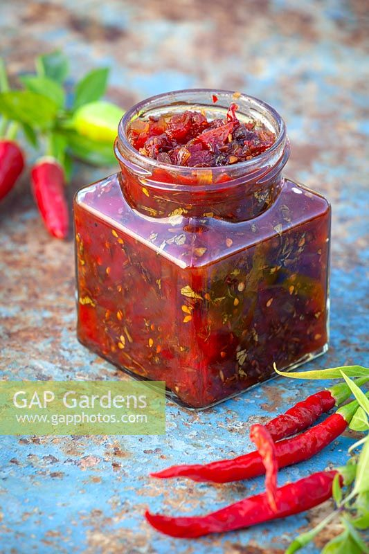 Jar of spicy caballero salsa relish made with tomatoes and chilli