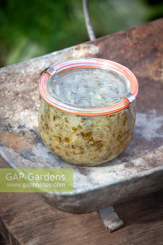 Jar of zesty fennel relish