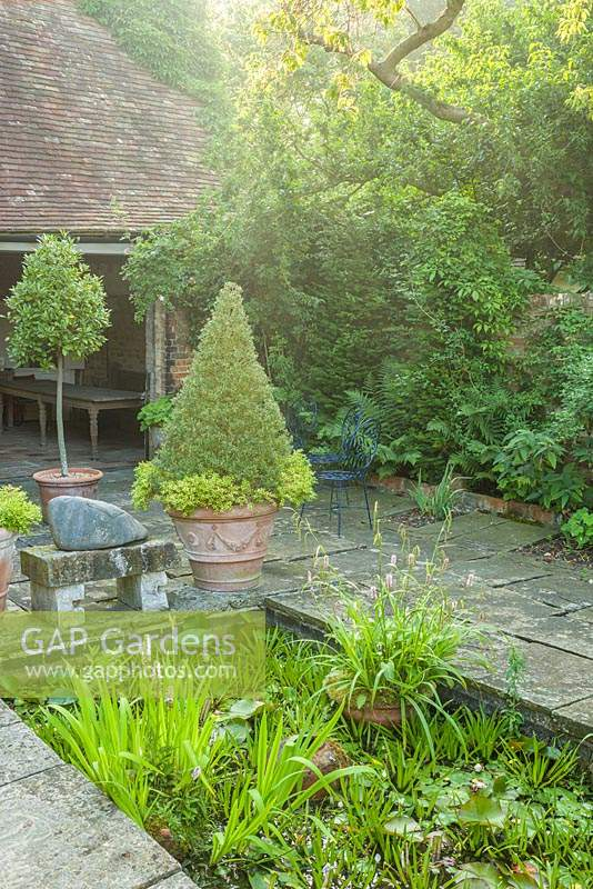 Courtyard paved with old flagstones. Topiary rosemary cone and bay in terracotta pots. Sunken pond.
