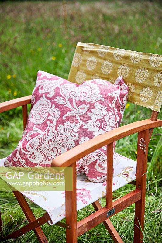 Floral cushions on director chairs