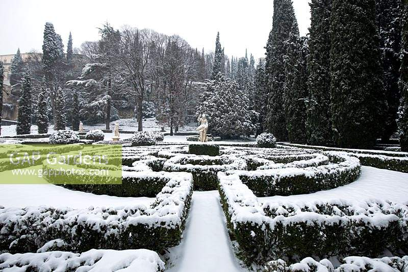 French-style parterre, view to centre with countryside trees beyond