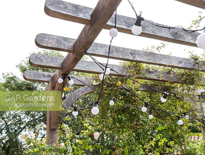 Chains of lights hanging from underside of wooden pergola