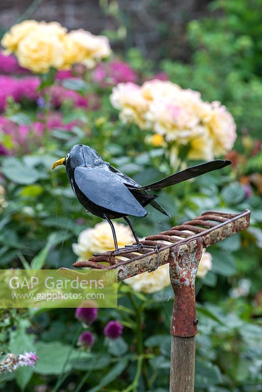 A metal bird perches on a old rake, overlooking roses and alliums.