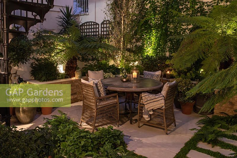 A walled courtyard with outdoor dining area lit at night, illuminating Dicksonia antarctica - Tree Fern, Hydrangea and Hosta in raised beds