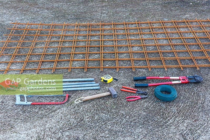 Tools and materials for rose arbour made from wire mesh steel rebars - Step by step How to make a rose arbour.
