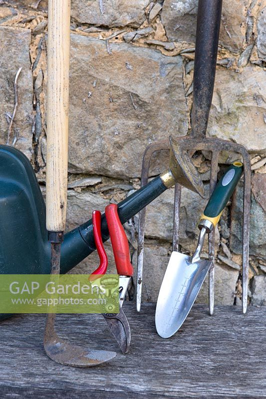 Essential garden tools of a Hoe, fork, trowel, watering can and secateurs