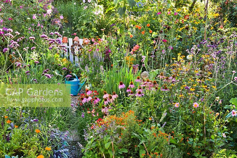 Vegetable garden with summer flowers.