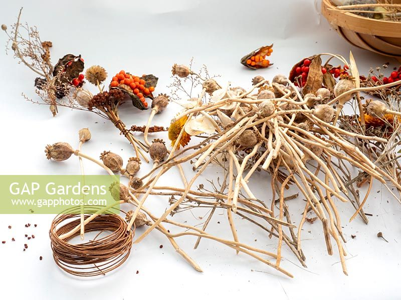Prepare dried flowers and seed heads for floral arrangements, wreaths and indoor displays