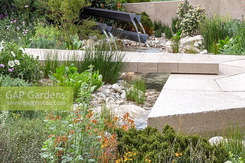 View of a water feature and limestone path over the stream with marginal plants including Juncus effusus.  The Telegraph Garden. RHS Chelsea Flower Show, 2016. Designer: Andy Sturgeon FSGD, Sponsor: The Telegraph.