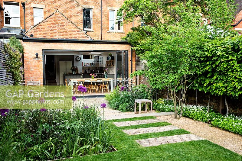 A contemporary city garden with a border with alliums, purple mullein and cow parsley in front of a lawn