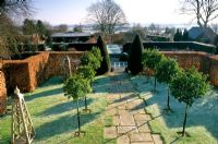 Winter garden with standard Laurels lining path. Wollerton Old Hall in Shropshire