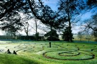 Maze in lawn at Parham in Sussex