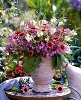 Floral display with Phlox, Echinacea and Physostegia on vases