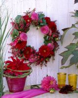 Autumnal wreath with Dahlias and Erica - Heather