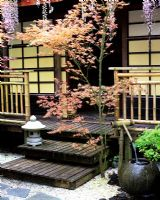 Japanese teahouse with water bowl, decking, Wisteria, Bamboo railing