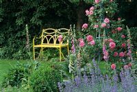 Summer garden with yellow metal bench and rose obelisk