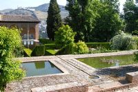 The Partal Gardens, with rectangular pools and rill - Gardens of the Alhambra, Granada, Spain