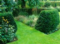 Horseshoe shaped Taxus hedge enclosing grass garden
