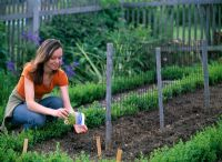 Woman sowing seed in vegetable garden