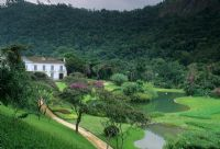 Overview of garden in valley with lake - Brazil