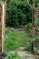 Neglected path in need of repair viewed through willow archway with Corylus avellana 'Contorta' in background