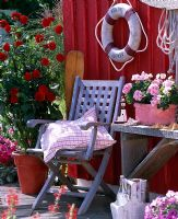 Wooden seat on terrace in front of red painted wooden walls. Containers with 