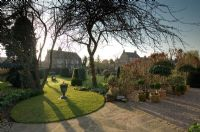 Spring garden with view across lawn to house. Tree, Fagus hedge and containers of topiary on gravel path - Hatch End