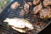 Beef Burgers and a trout on a barbecue
