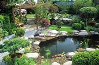 Japanese water garden with Koi pond