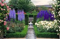 Delphiniums in the walled garden at Alnwick Castle