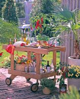 Wooden trolley for outdoor food preparation