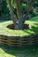 Turf tree seat with strips of metal woven around tubes that have been allowed to rust - beneath an old apple tree