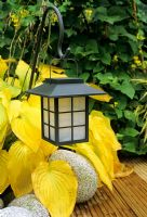 Oriental style solar lantern backlit by a hosta colouring up in the Autumn as it spills between decking and granite boulders