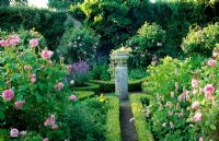 Edwardian knot garden with old fashioned Roses - Alderley Grange, Gloucestershire