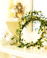 Mistletoe wreaths secured with fine mossing wire