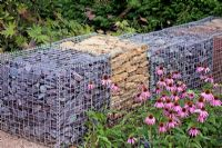 Gabions filled with different stones at Birmingham Botanical Gardens