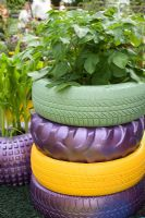 Old vehicle tyres painted in strong colours as planters with crops of sweetcorn and potatoes - 'Recycle Re-use and Relax' garden by gardening Scotland 2007. Silver-Gilt Medal and Best Show Garden