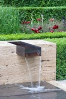 Water feature set in marble - The Laurent-Perrier Garden, Sponsored by Champagne Laurent-Perrier - Gold medal winner at RHS Chelsea Flower Show 2009