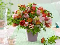 Mixed floral display - Tulipa, Hyacinthus, Freesia, Asparagus and Hedera