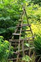 Rustic plant support frame made from recycled wood