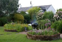 Barbequing on patio in country garden with adjacent circular beds of Cosmos, Allium and Eschscholzia, and herbaceous borders with climbing roses