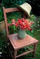Pink sweetpeas on pink chair